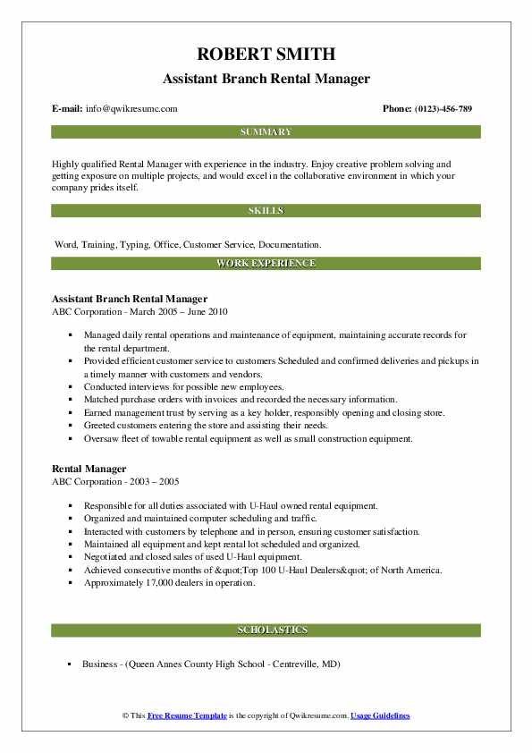 Rental Manager Resume example