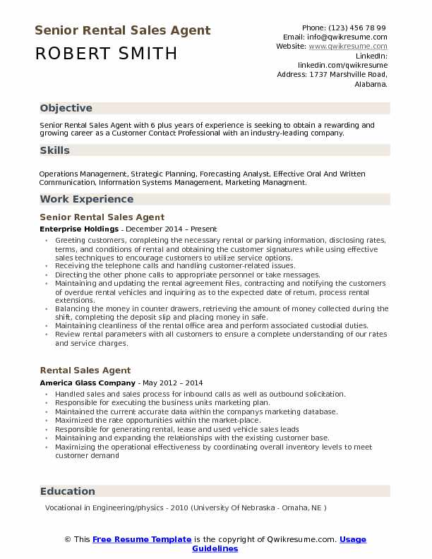 rental sales agent resume samples