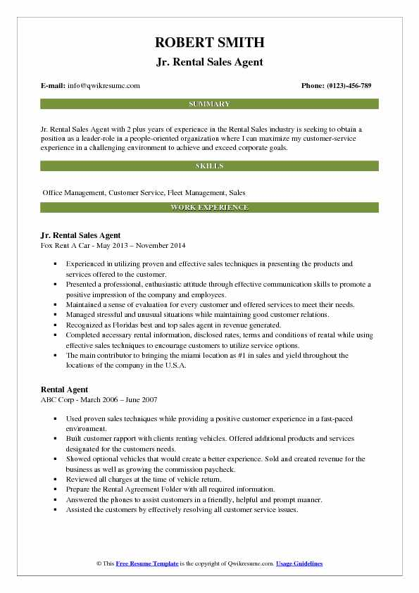 Jr. Rental Sales Agent Resume Template