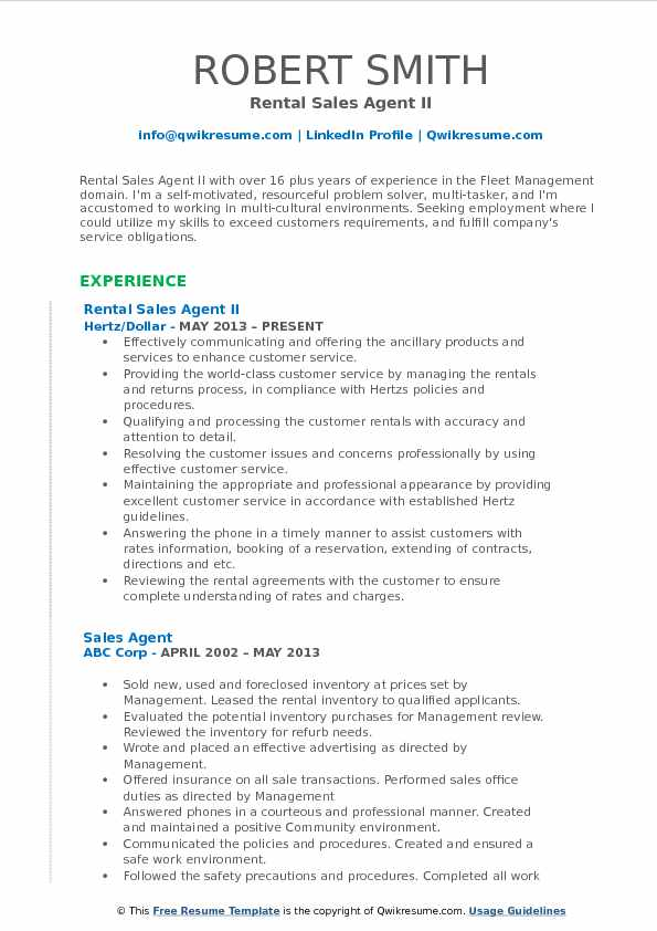 Rental Sales Agent II Resume Format