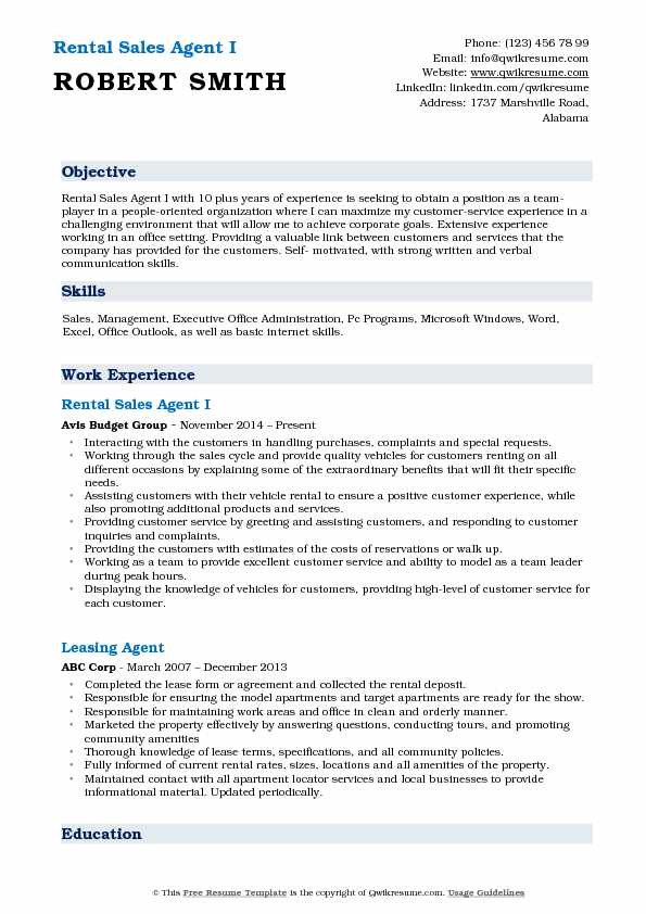 Rental Sales Agent I Resume Example