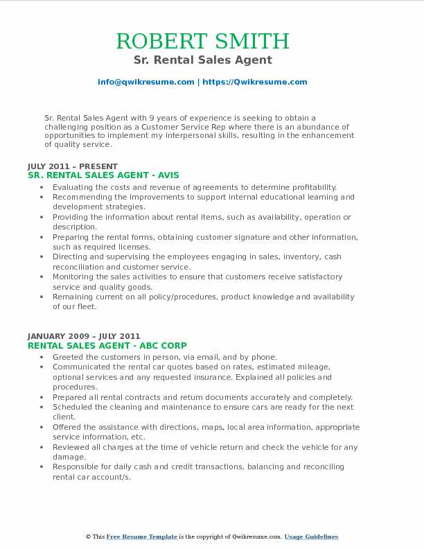 Sr. Rental Sales Agent Resume Format