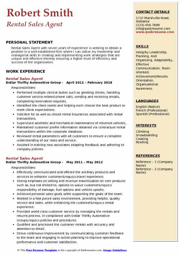 Rental Sales Agent Resume Sample