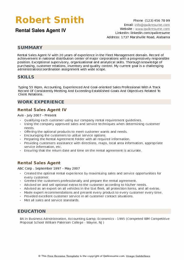 Rental Sales Agent Resume example