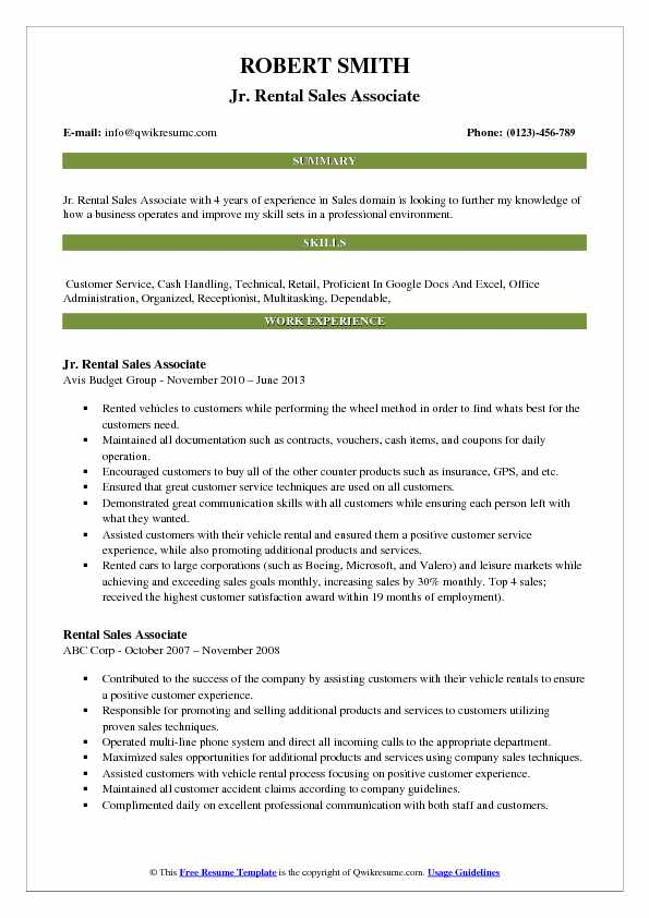 Jr. Rental Sales Associate Resume Example