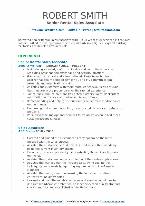 Senior Rental Sales Associate Resume Example