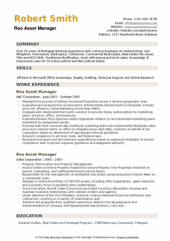 Reo Asset Manager Resume example