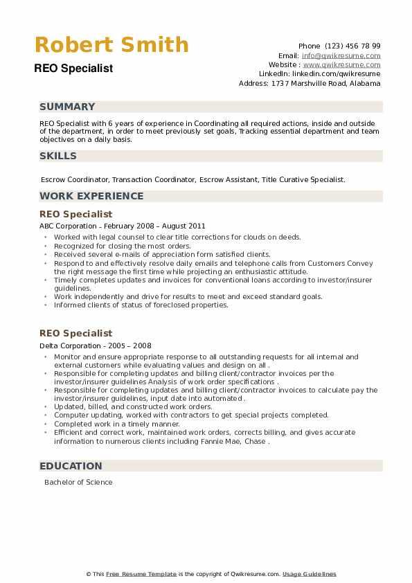 REO Specialist Resume example