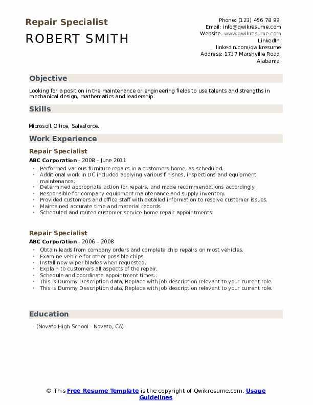 Repair Specialist Resume example