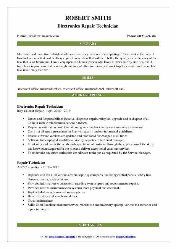 Repair Technician Resume Samples | QwikResume