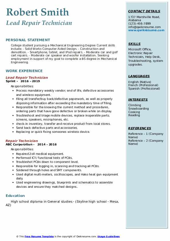 repair technician resume samples