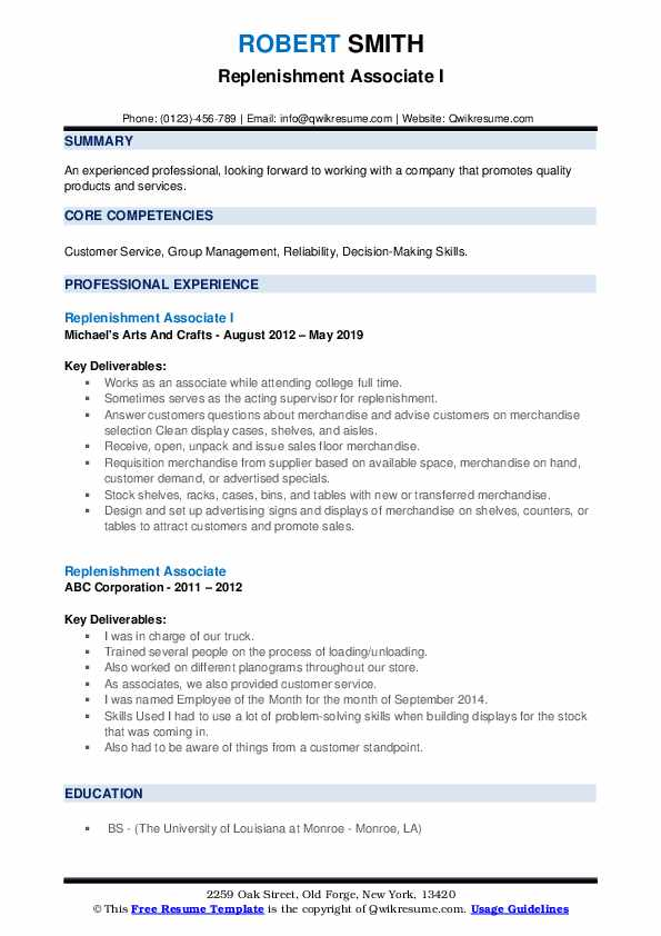 Replenishment Associate I Resume Format