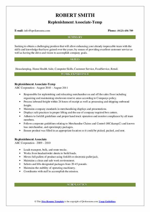 Replenishment Associate-Temp Resume Template