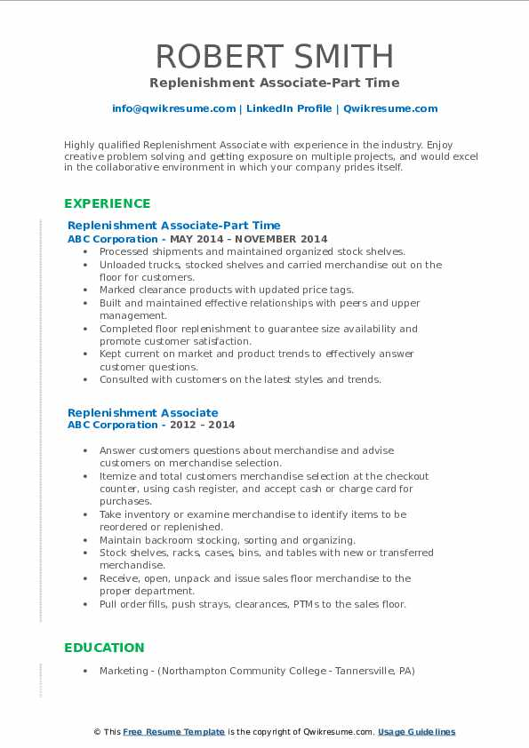 Replenishment Associate-Part Time Resume Sample