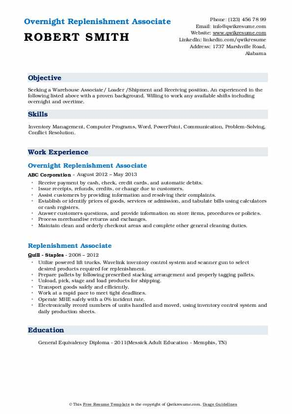 Overnight Replenishment Associate Resume Sample