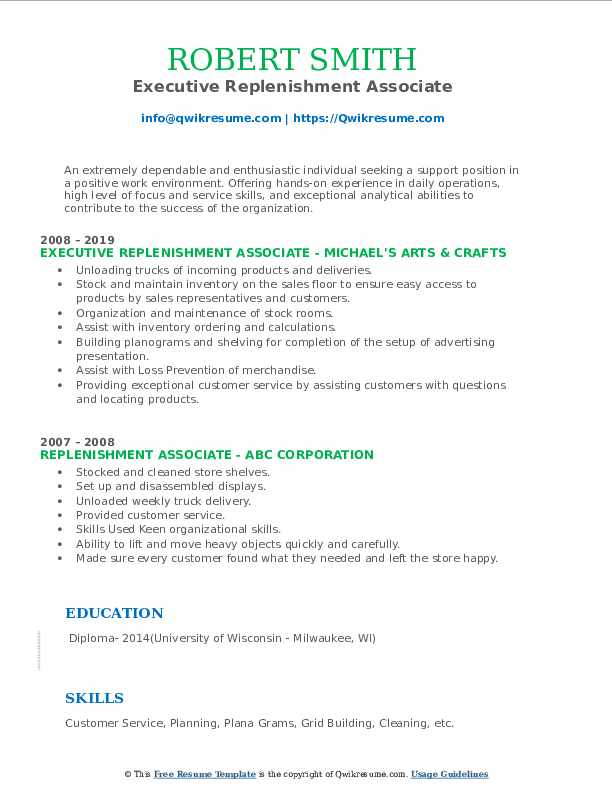 Executive Replenishment Associate Resume Example