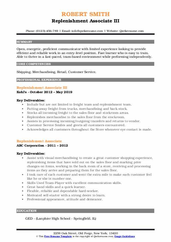 Replenishment Associate III Resume Model