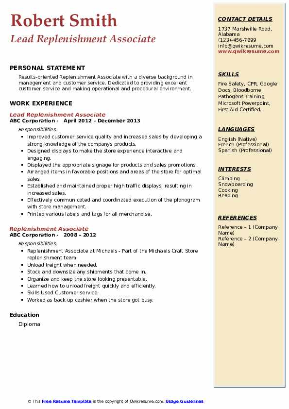 Lead Replenishment Associate Resume Format