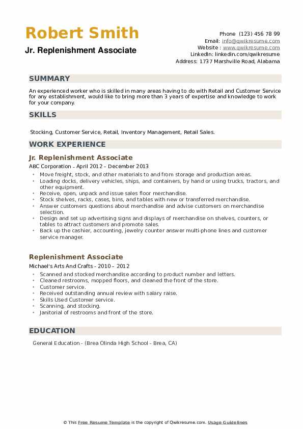 Jr. Replenishment Associate Resume Sample