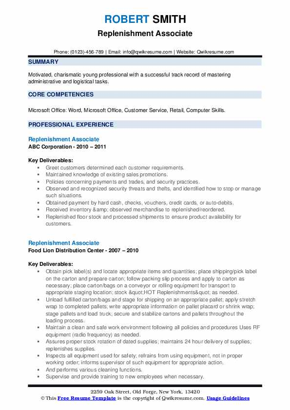 Replenishment Associate Resume example