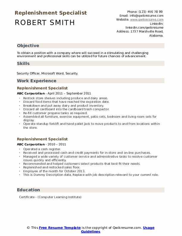 Replenishment Specialist Resume example