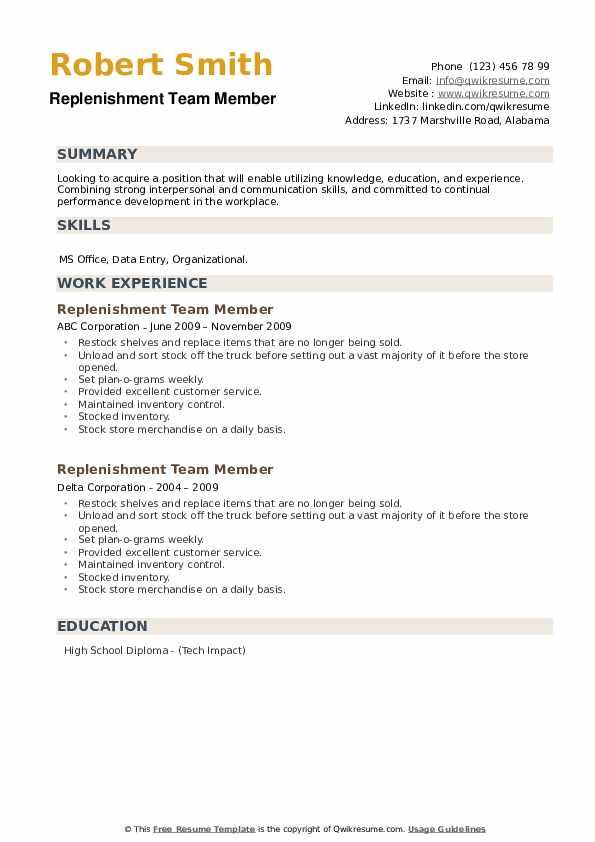 Replenishment Team Member Resume example