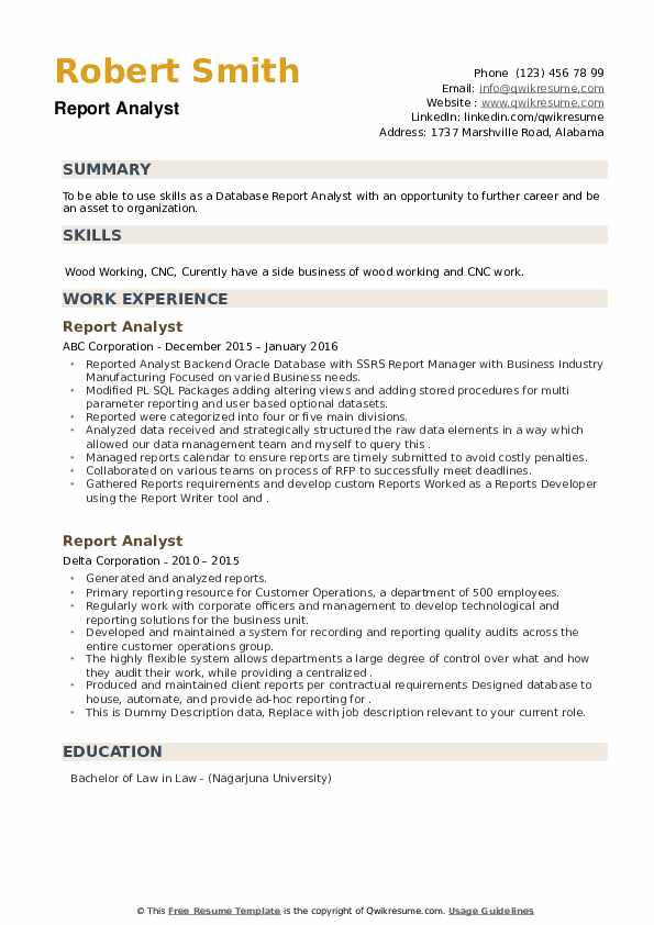 Report Analyst Resume example