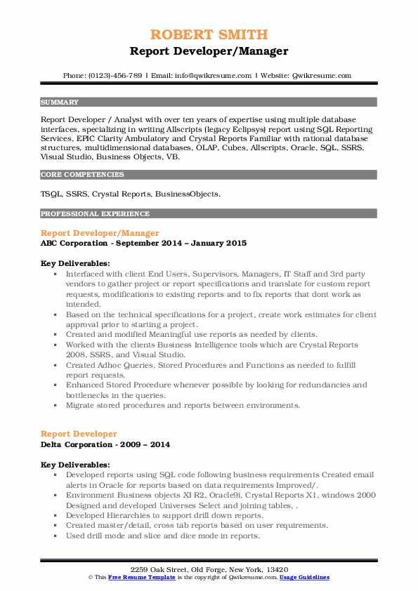 report developer resume samples  qwikresume