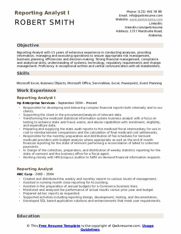 Reporting Analyst I Resume Format
