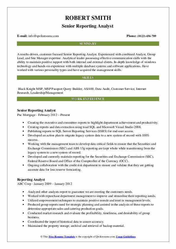 Senior Reporting Analyst  Resume Sample