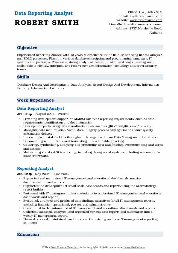 Data Reporting Analyst Resume Template