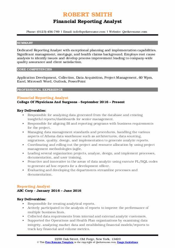 Financial Reporting Analyst Resume Example