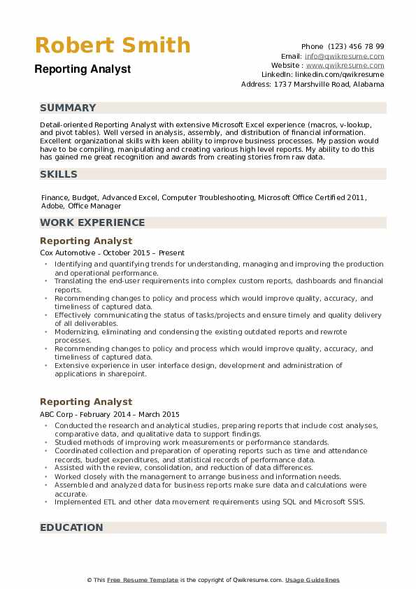 Reporting Analyst Resume example