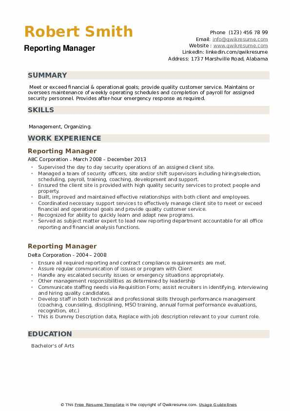 Reporting Manager Resume example