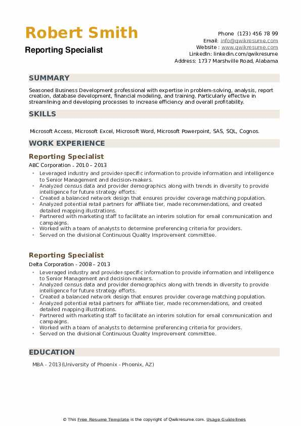 Reporting Specialist Resume example