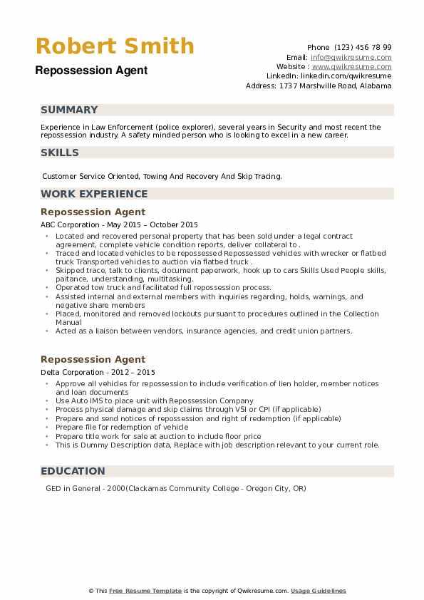 Repossession Agent Resume example