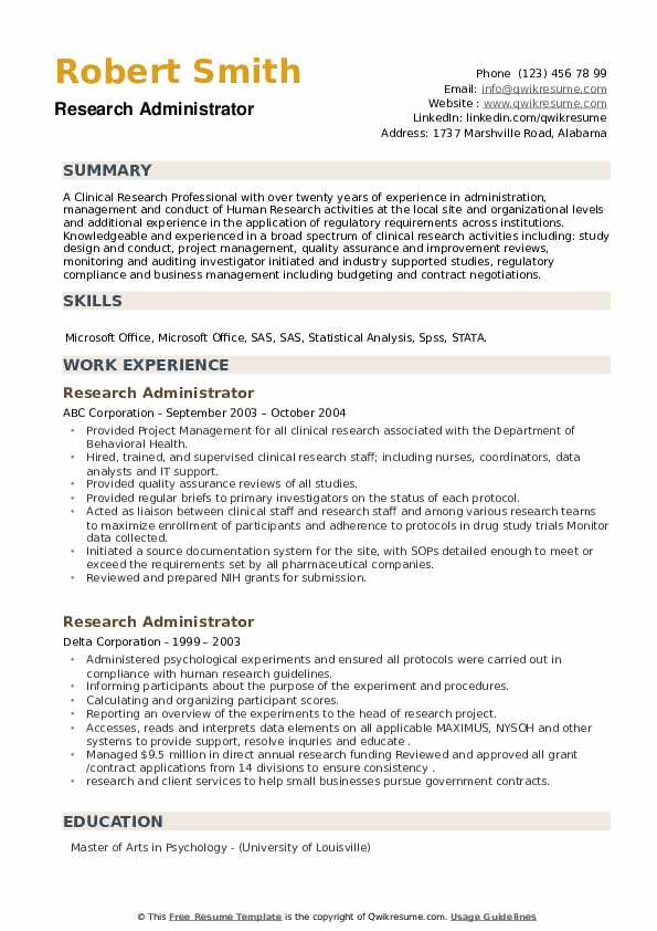 Research Administrator Resume example