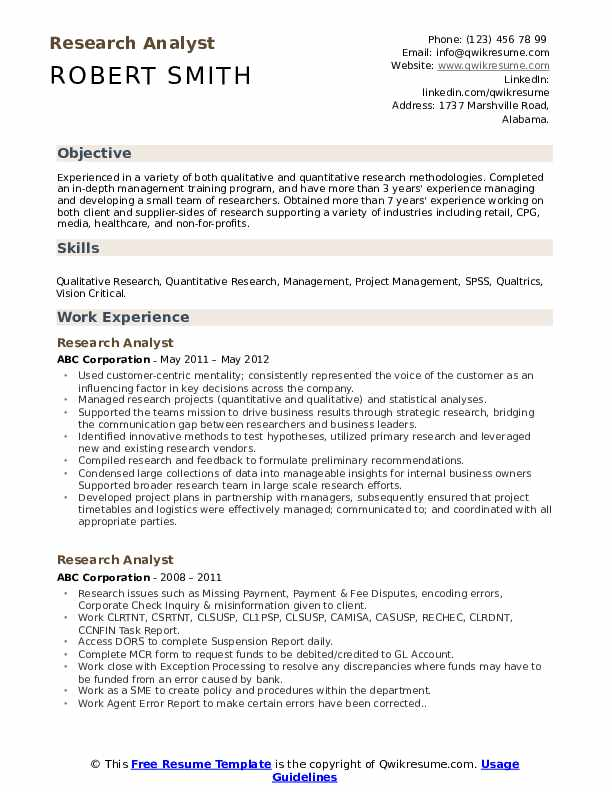 Research Analyst Resume Model