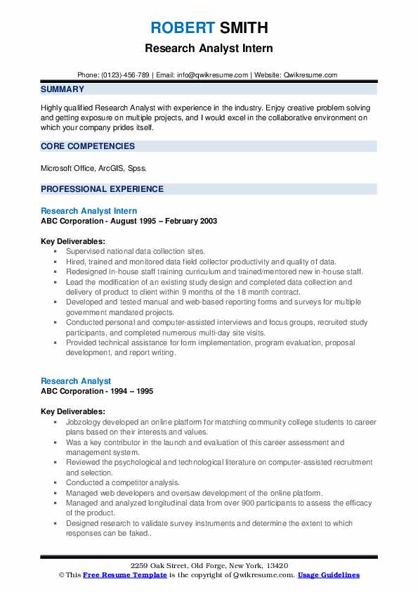 Research Analyst Intern Resume Format