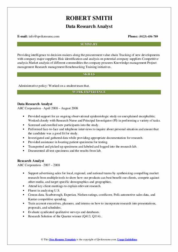 Data Research Analyst Resume Model