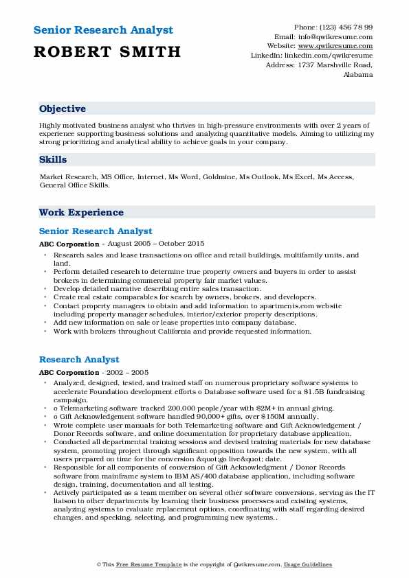 Senior Research Analyst Resume Model