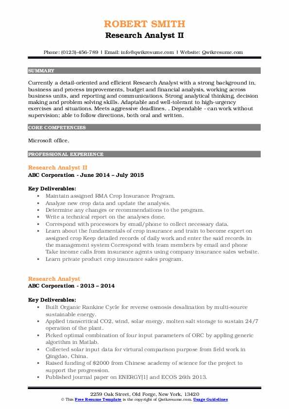 Research Analyst II Resume Format