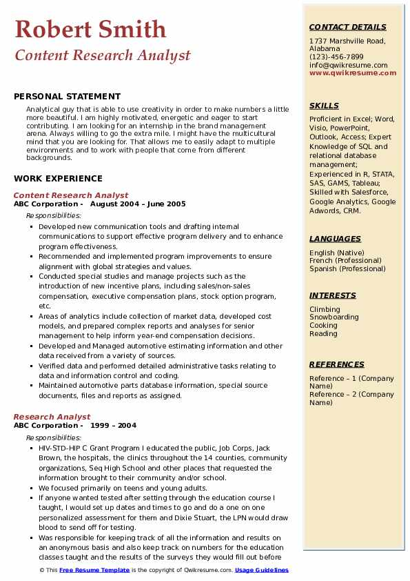 Content Research Analyst Resume Model