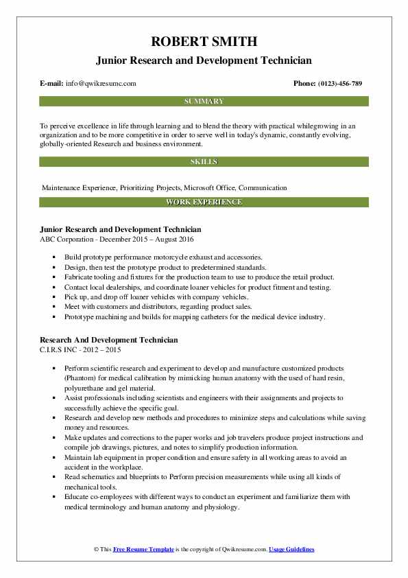 research and development technician resume samples