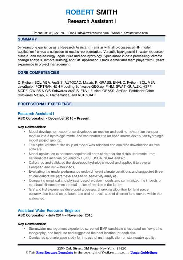 Research Assistant I Resume Model