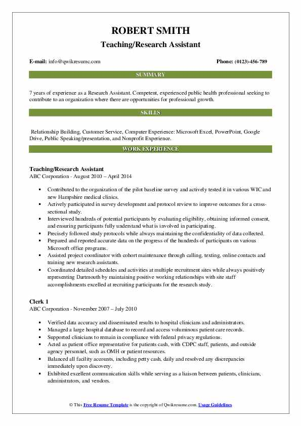 Teaching/Research Assistant Resume Sample