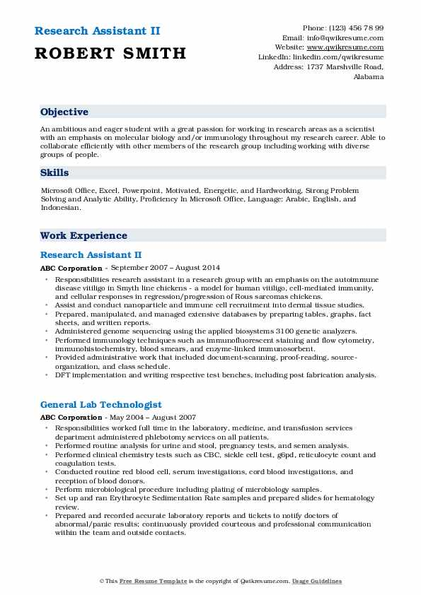 Research Assistant Resume Samples Qwikresume