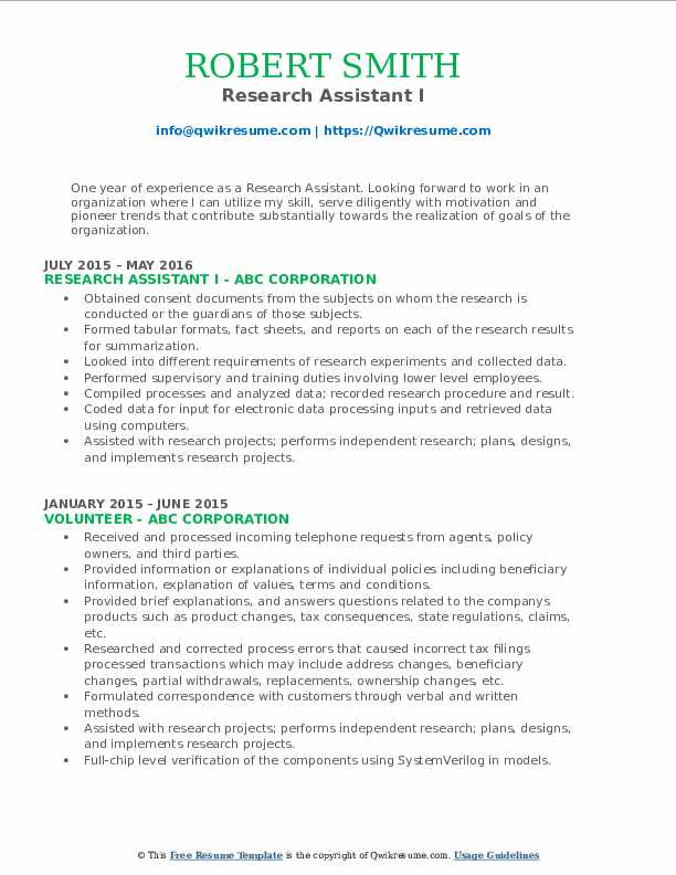Research Assistant I Resume Sample