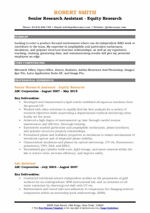 Senior Research Assistant - Equity Research Resume Example