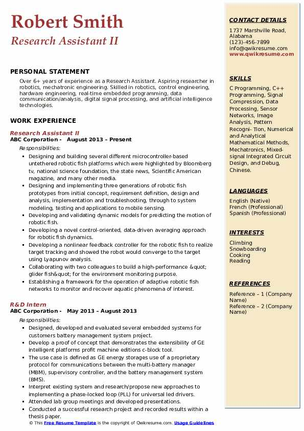 Research Assistant II Resume Model